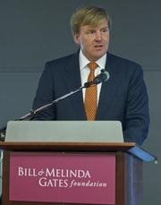 Crown Prince Willem-Alexander of the Netherlands speaks during the Bill & Melinda Gates Foundation's Reinventing the Toilet fair in Seattle on Tuesday.