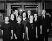 The staff of Fox's Gem Shop in 1964. Back row, left to right: Stephen A. Thal, Raymond M. Glynn and Sidney Thal. Second row: Margaret Connolly, Berta Thal and Lillian Goffee. Front row: Ann Marie Studebaker, Augusta Rose and Ann Wilson.