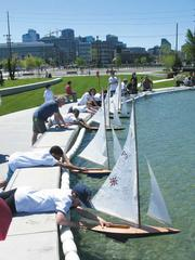 Seattle's Lake Union Park has a 100-foot pond, which the Center for Wooden Boats uses during summer months to sail a fleet of model boats.