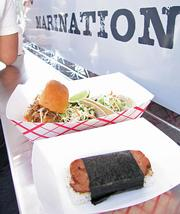 Miso ginger chicken tacos, kalua pork sliders and SPAM Musubi at the Marination mobile food truck in Seattle.