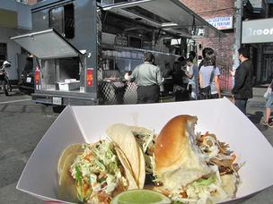 Miso ginger chicken tacos and kalua pork sliders at the Marination mobile food truck.