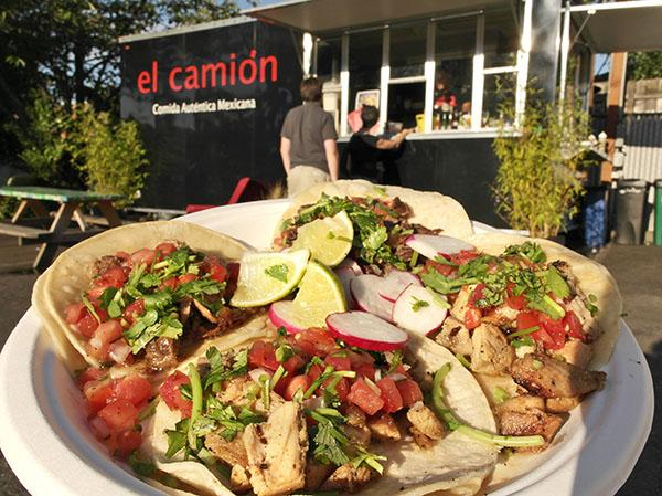Chicken, carne asada (beef) and carnitas (pork) tacos at the el Camion food truck in Ballard.