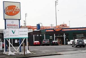 The shuttered PaperZone at 1911 First Ave. South in Seattle is located on a parcel of property purchased by Chris Hansen last fall.