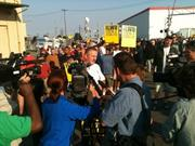 International ILWU president Robert McEllrath speaks to picketers at the Port of Longview on Wednesday.