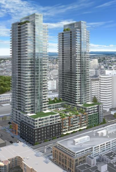 Insignia, a two-tower condo development, is under construction in downtown Seattle two blocks from where Amazon.com plans to build three office towers.