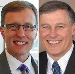 Washington state gubernatorial candidates Rob McKenna, left, and Jay Inslee will debate on Thursday.