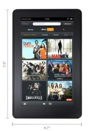 The Kindle Fire weighs 14.6 ounces and is less than a half-inch thick. It is 7.5 inches long and 4.7 inches wide. It comes with free Amazon cloud storage of books, music and other content.