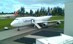 Lufthansa's first Boeing 747-8 Intercontinental, hours before it lifted off from Paine Field, in Everett