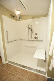 A MEDCottage features a no-step shower for easy access.