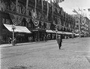 Rainier Industries made the bunting decorating Seattle's Frederickson & Nelson building in a photo from early in the 20th century.