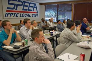 New Boeing hires listen to an orientation meeting at SPEEA headquarters in April.