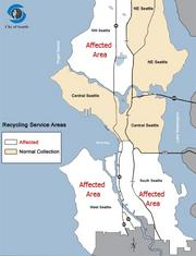 The downtown area served by Waste Management Inc. starts at Yesler Way and extends south, covering Pioneer Square. Beyond downtown, neighborhoods affected by the company's garbage and recycling strike include those south of I-90 and in the northwest quadrant of Seattle.