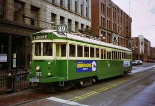 A trolley on the George Benson Waterfront Streetcar Line in Seattle's Pioneer Square neighborhood in 1994.