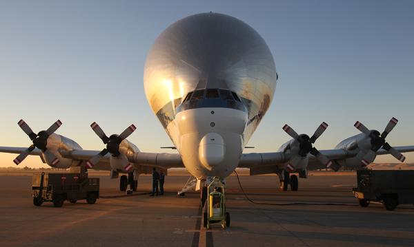 The Super Guppy sits on the tarmac during preflight inspections at Travis Air Force Base in Northern California on the morning of Aug. 9.