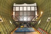 A view of the forward section of the space shuttle trainer inside the enormous cargo section of NASA's Super Guppy after it landed at Boeing Field in Seattle on Thursday.