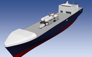 An artist's rendering shows how TOTE plans to mount four LNG tanks above deck on its cargo ships.