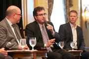 Panelists, from left, Howard Cohen, John Creighton and Steve Warner discuss the challenges in enlarging Washington's tourism industry at a Business Journal Live event.