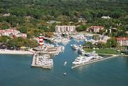Space is tight, and the water is shallow, in Hilton Head, S.C.'s yacht-filled Harbour Town Yacht Basin.