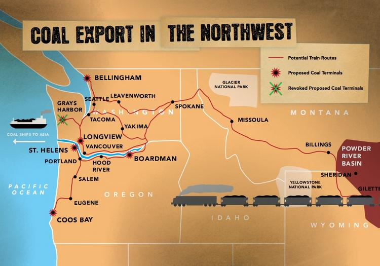 The Pacific International Gateway near Bellingham is one of several proposed terminals in the region for exporting coal.