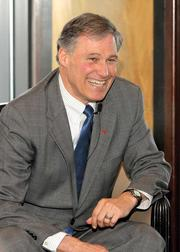 Gubernatorial candidate Jay Inslee at a meeting at Seattle's Columbia Tower Club.