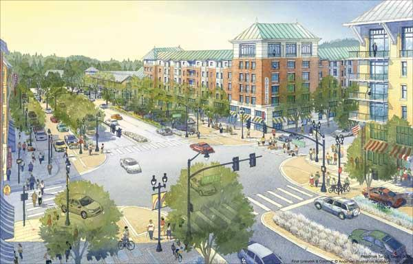The city of Bothell moved roads and bought land to sell to developers in hopes of making the suburb more livable. Builders are breaking ground on several projects now.