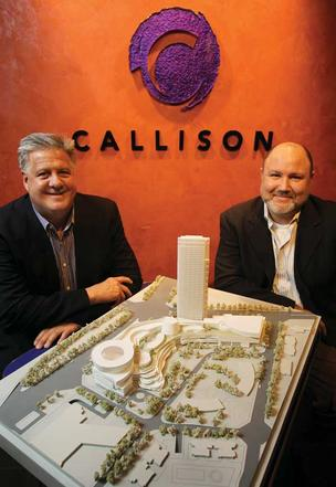 Callison chairman and chief executive John Jastrem (left) and principal Darryl Custer show off their MixC retail-office mini-city in Chengdu, China, which is scheduled to open in May. More than a third of Seattle-based Callison's employees work on projects in China.