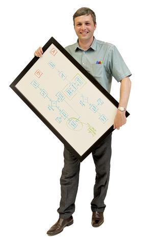 Charlie Claxton does a lot of brainstorming to solve problems for clients and uses the whiteboard to find best end-user results.