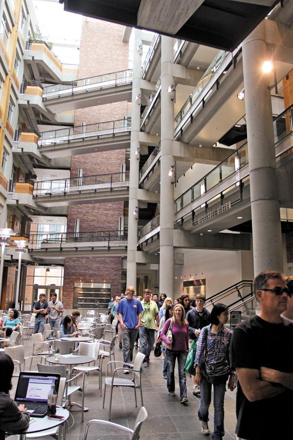 A group of prospective students and their parents checks out the Paul G. Allen Center for Computer Science and Engineering at the University of Washington's Seattle campus. Tech training can lead to high salaries.