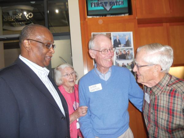 Former Seattle Mayor Norm Rice (from left), Sally Gorton and former U.S. Sen. Slade Gorton help Jim Ellis celebrate his 90th birthday at Safeco Field.