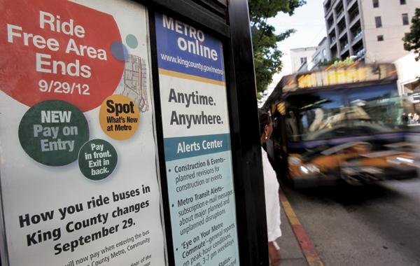 A kiosk announces the Sept. 29 demise of the Ride Free Zone for buses in downtown Seattle.