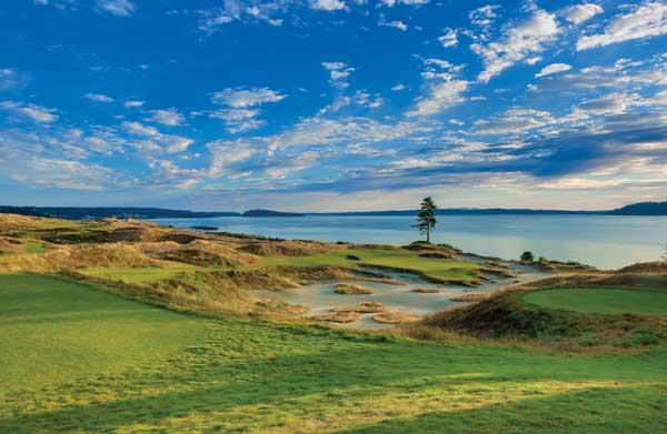 The Chambers Bay golf course in Pierce County, site of the 2015 U.S. Open, features just one tree on the entire course. Below, the No. 10 hole on Chambers Bay, which was designed as a links-style course.