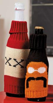 Crowded Coop created the liquor cozy and mustache beer cozy as part of the Kitsch on the Rocks line.