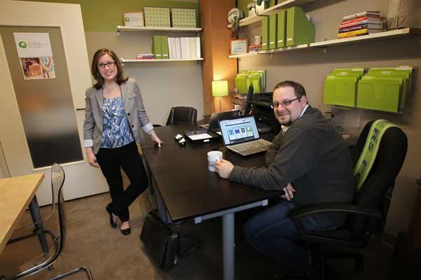 Organizing expert Elizabeth Bowman (left), president of Innovatively Organized, meets up with client Daniel Rossi, executive director of Northwest Entrepreneur Network, at his company's newly remodeled office in Seattle's Pioneer Square.