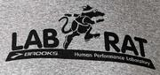 Volunteer tester Eric Ott proudly wears his Lab Rat t-shirt at the Brooks Sports Human Performance Lab.