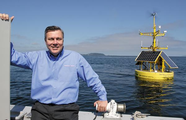 Steve Williams, CEO of Intellicheck Mobilisa, says the company's buoys have sensors that can detect radiation, oil spills, capsized boats and huge weather events, in addition to helping extend wireless internet service.