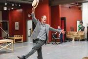 "Hans Altwies rehearses his role as the devilish Mr. Applegate in ""Damn Yankees."" The musical's run begins April 21 at the 5th Avenue Theatre."