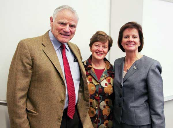 Key figures at a recent fundraiser for science education were Dr. Lee Hood (from left); Hood's wife, Valerie Logan; and Mary Alice Heuschel, Renton schools superintendent.