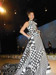 This energetic gown was among the many dresses featured in Luly Yang's fashion-show fundraiser recently at Fremont Studios, in Seattle.