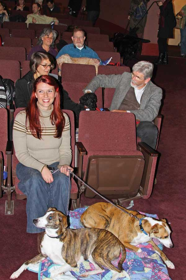 """Letitia Harmon and her dogs, Byron and Keats, settle in for the Seattle Repertory Theatre's production of """"Sylvia."""""""