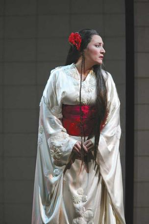 "Patricia Racette is cast as Cio-Cio-San, a Japanese woman who marries an American officer in the Seattle Opera's production of Puccini's masterpiece, ""Madama Butterfly."""