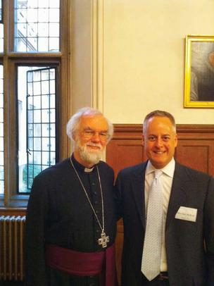 The Most Reverend Rowan Williams (left), the archbishop of Canterbury, and Seattle's Marshal McReal were among those who listened to a Peter Hallock composition performed by the Canterbury Choir in England.