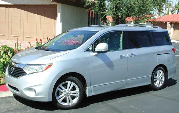The 2012 Nissan Quest 3.5 LE minivan, as pictured, has a sticker price of $43,715.