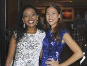 From left, actresses Tsige Tafesse and Fawn Ledesma.