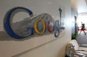 A Seattle-themed Google logo art piece made of Legos hangs in the hallway at Google's office in Kirkland. SRM Development is in discussions to build adjacent to the Google campus.