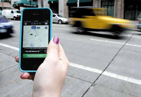 Uber allows riders to use a smartphone app to hire cars.