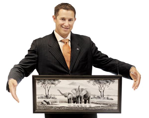 Michael Mooney's canvas painting of a safari represents leadership metaphor and is an inspiring image for him.