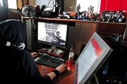"""Brice Broaddus, a game developer at Zombie Studios in downtown Seattle, tests the company's upcoming game """"Blacklight."""""""