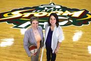 Shannon Burley (left), Seattle Storm vice president of marketing, and Samantha Twardowski, of Wunderman Seattle, were instrumental in developing the team's marketing campaign.