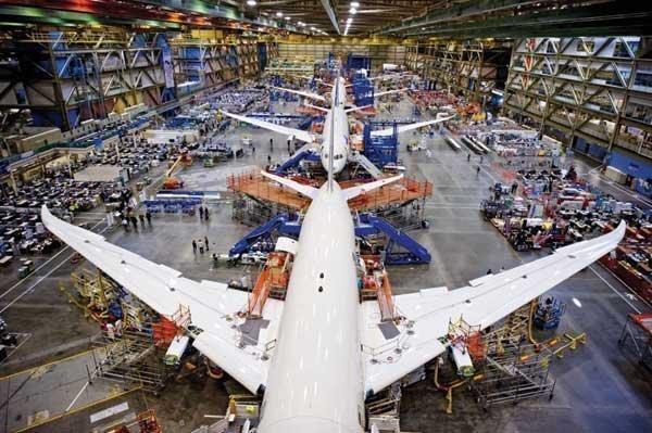 Boeing 787s under construction in Everett.