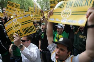 "Thousands of ""Bring back the Sonics"" attend a rally at Occidental Park in Seattle on Thursday. The rally was also attended by King County Executive Dow Constantine and former Sonics players Detlef Schrempf and Gary Payton."